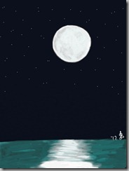Moon over water drawn on iPad